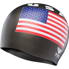 TYR USA Bonnet de bain en silicone, black